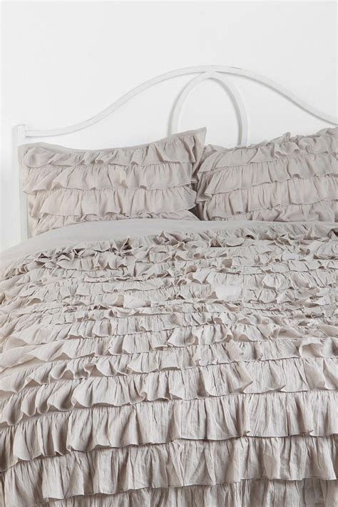 gray ruffle bedding waterfall ruffle duvet cover decorating pinterest