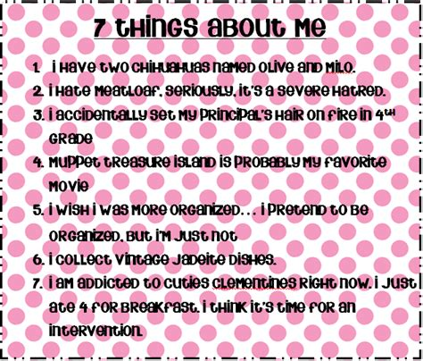 Another 7 Things About Me by 7 Facts About Me