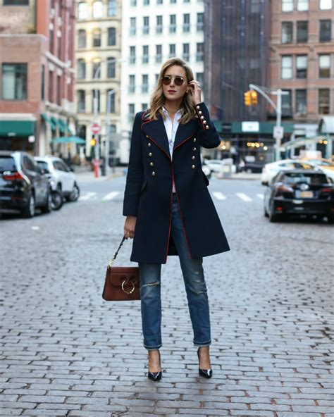 Navy Fashion coat memorandum nyc fashion lifestyle for the working