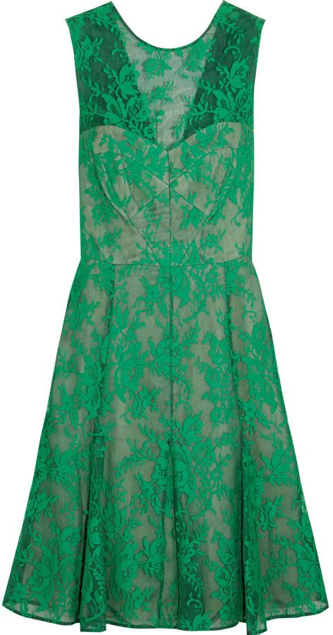 erdem pleated lace embroidered tulle dress shopstyle co
