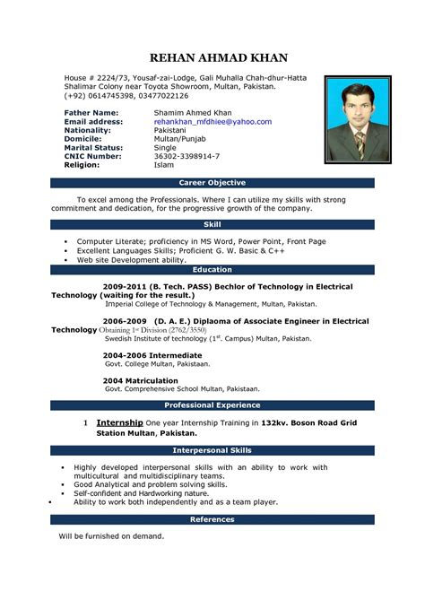image result for fresher resume format in ms word