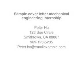 Engineering Internship Cover Letter With No Experience by Sle Cover Letter Mechanical Engineering Internship