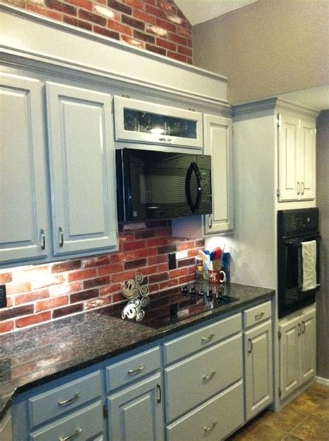 grey brick backsplash pin by gibson dickson on kitchen krushes