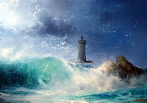 seascape wave  lighthouse id