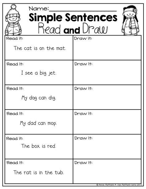 basic sentence pattern activity very simple sentences for beginning readers with common