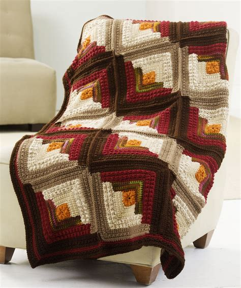 red heart pattern wr 1987 log cabin comfort throw crochet pattern red heart