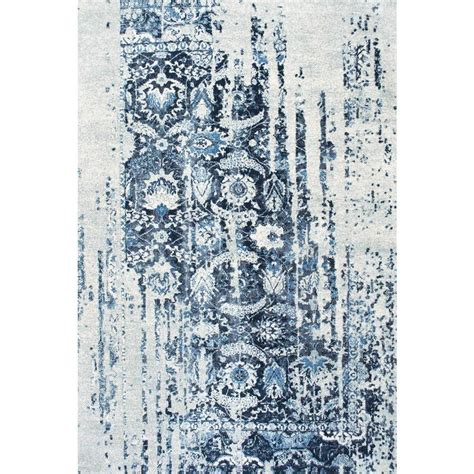 Distressed Blue Rugs - nuloom distressed ernestina flourish blue 7 ft 6 in x 9