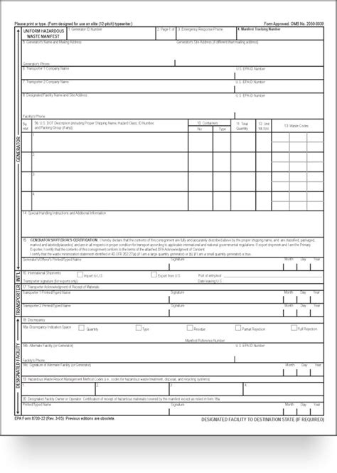 Environmental Compliance Tools Mccoy Forms Epa Form 8700 22 Template