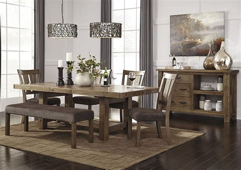Side Table Dining Room Kemper Furniture Tamilo Gray Brown Rectangular Dining Room Extension Table W 4 Side Chairs