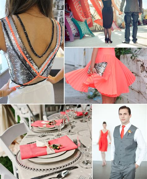 neon coral wedding inspiration with chic black gray silver onewed