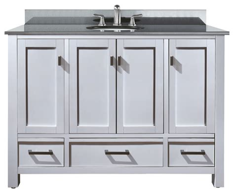 Bathroom Vanity With Top Combo Modero 48 Vanity Combo White Black Granite Top Contemporary Bathroom Vanities And Sink