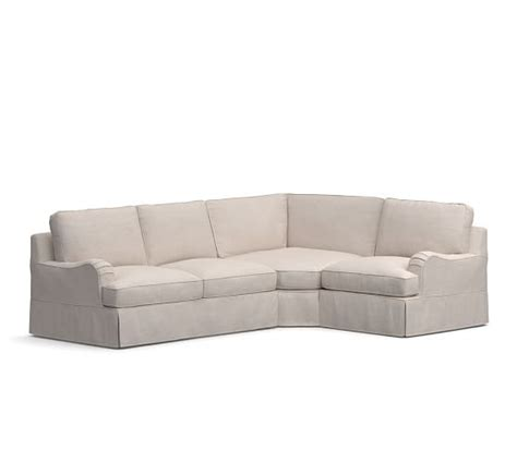 pb comfort sectional pb comfort english arm slipcovered 3 piece sectional with
