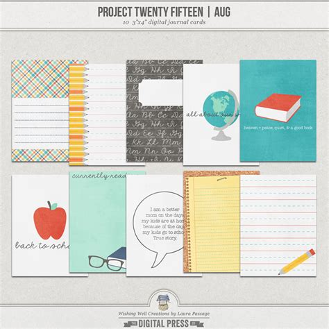 Project Journaling Card Template by Project Twenty Fifteen August 3x4 Journal Cards