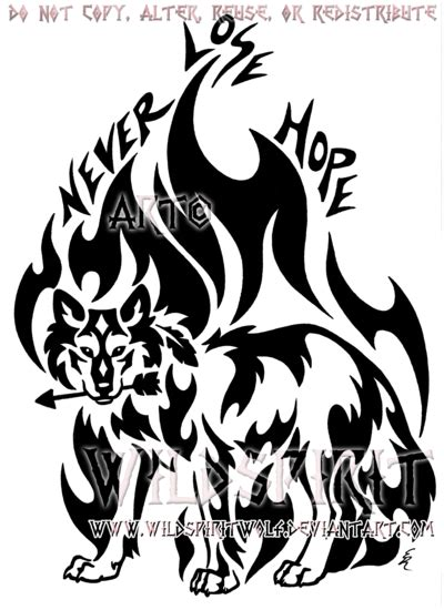 never lose hope tattoo designs never lose tribal wolf design by