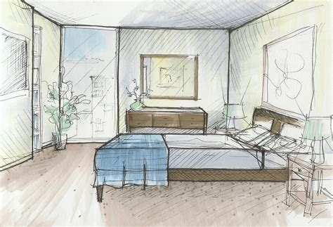 sketch of a bedroom residential project by elizabeth dixon at coroflot com
