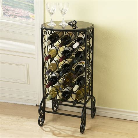 Table Wine Racks by Sei Glass Top Wine Table Free Standing Wine