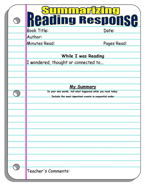 my fantastic 4th grade fiction book report template reading response forms and graphic organizers scholastic