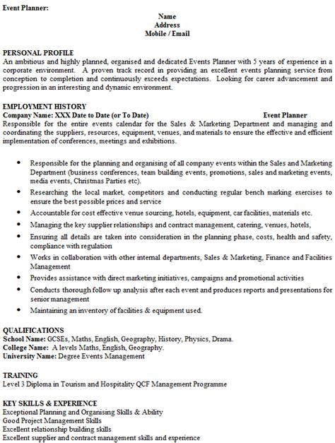 event planner cv exle icover org uk
