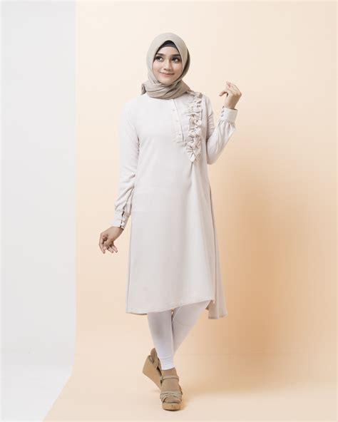 Belva Dres Syari Murah jual baju atasan muslim terbaru belva tunik white muslimodis
