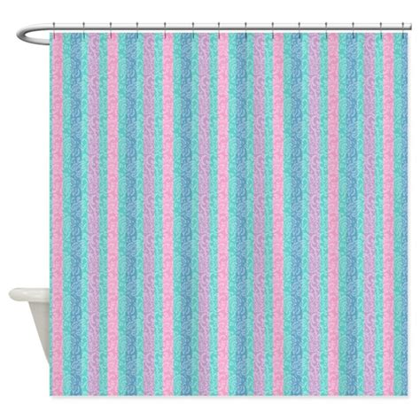 teal and pink bathroom teal and pink stripes shower curtain by cheriverymery