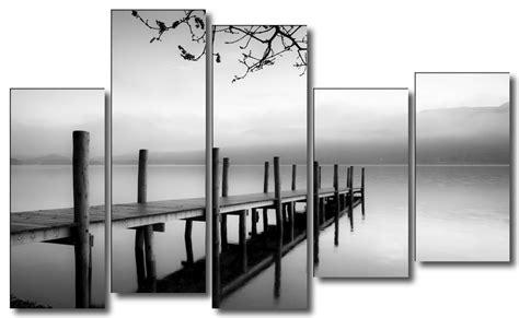 cuadros modernos blanco y negro cuadro de paisaje embarcadero blanco y negro lienzo 5
