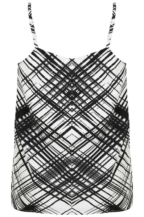 Black Blue Cross Hatch black white cross hatch print cami top plus size 16 to 36