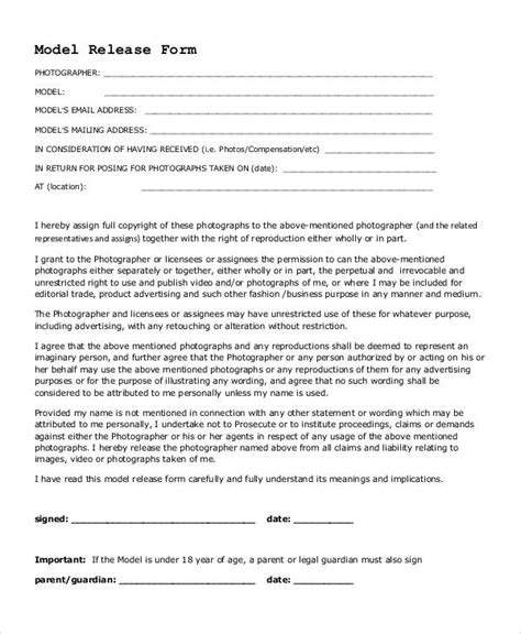 photography model release form photography business forms