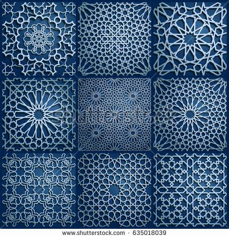 arabic islamic pattern background vector set islamic oriental patterns seamless arabic stock vector