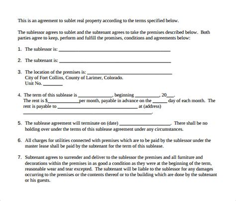 Subtenant Agreement Template sample lease agreement 8 documents in pdf word