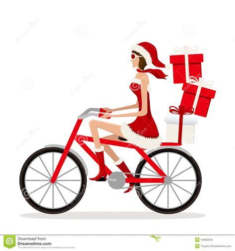 imagenes de santa claus en bicicleta muchacha de santa de la bicicleta fotos de archivo