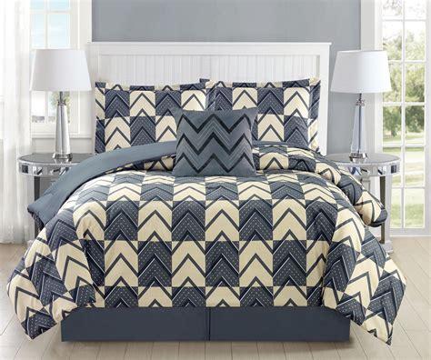 gray plaid comforter 5 piece chevron plaid gray ivory comforter set