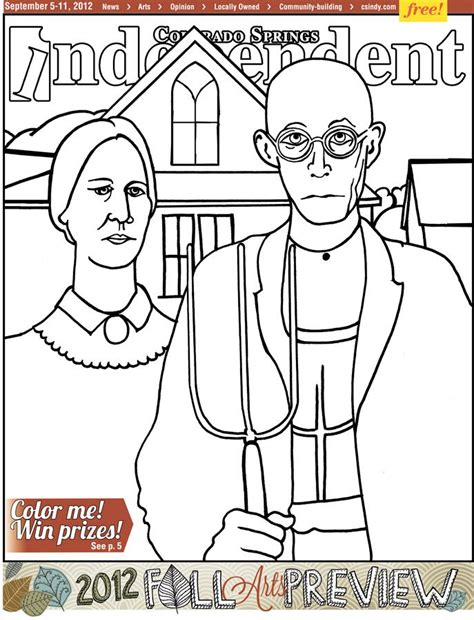 american gothic coloring page az coloring pages