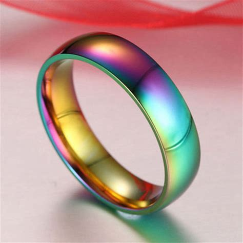 Colourful I Ring rainbow classic colorful ring titanium steel