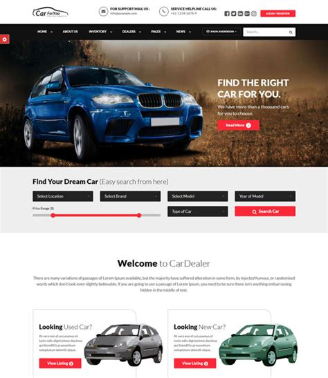 car html template 10 best car auto portal website templates