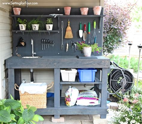 gardening work bench diy pallet potting bench sneak peek setting for four