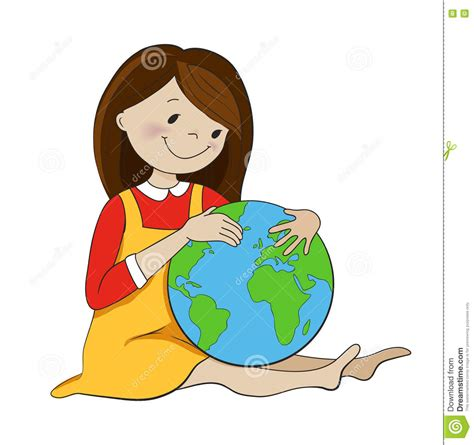 Travel Find Pretty And Protected by Hugging Globe Vector Illustration Stock
