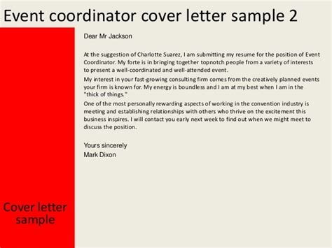 appreciation letter event organizer event coordinator cover letter