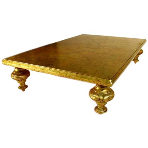 Gold Leaf Coffee Table Gold Leaf Cocktail Table By Monteverdi For Danny At 1stdibs