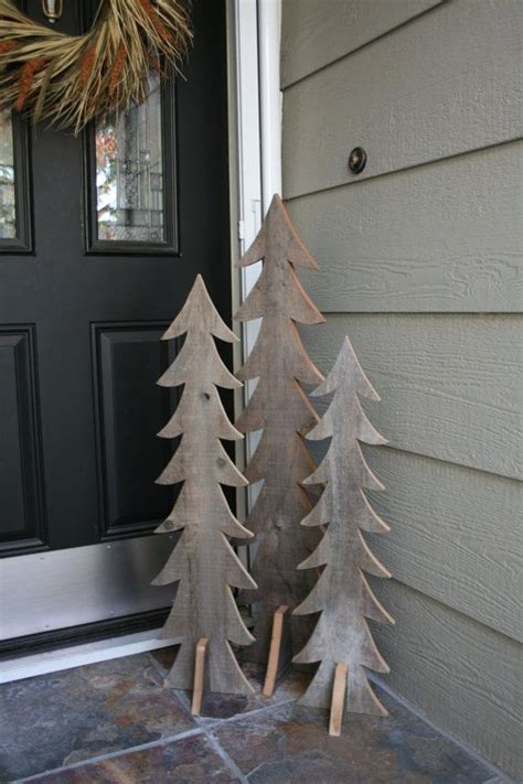 rustic wooden trees set of three handmade from reclaimed