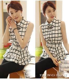 aliexpress korea fashion women sleeveless button down plaid elastic waist