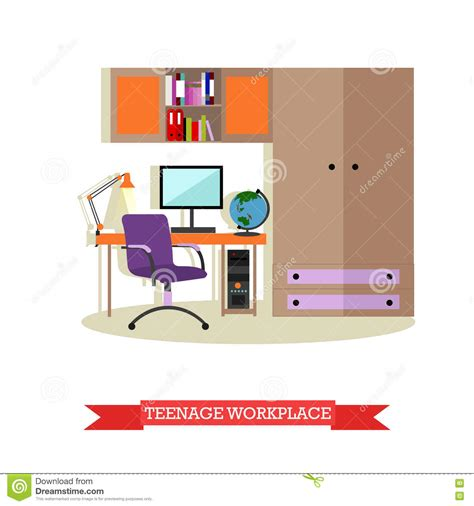 home design elements reviews bedroom interior flat vector illustration vector