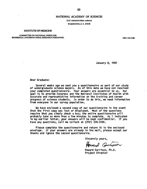 cover letter for questionnaire surveys appendix c survey of undergraduate science majors cover