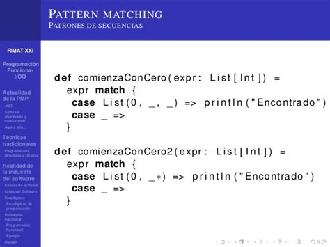 pattern matching list haskell programaci 243 n multiparadigma conveniencia y actualidad