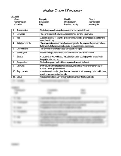 night section 4 answers chap 13 vocab answer key doc 6th science with ryals at