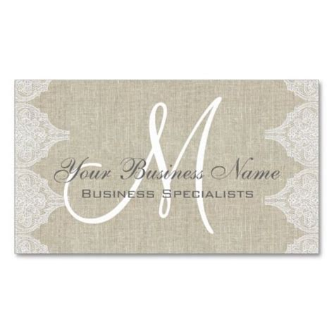 free monogram business card templates linen lace simple plain monogram business card lace