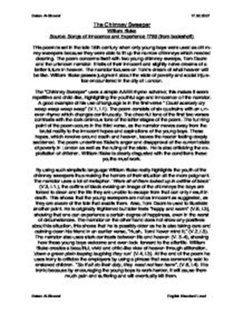 Chimney Sweep Essay by The Chimney Sweeper William Detailed Analysis International Baccalaureate Languages