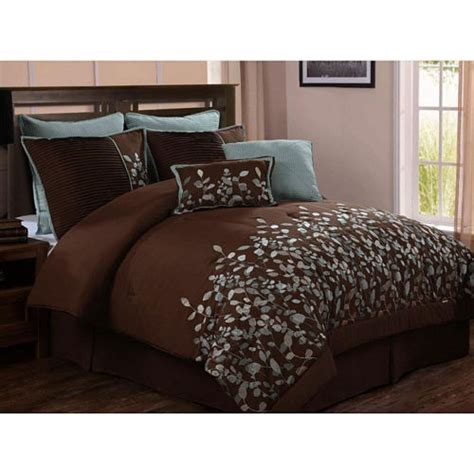 chocolate brown and blue comforter sets beautiful chocolate brown blue leaf comforter set 8 pc