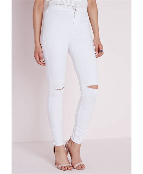 Highwaist Claw White lyst missguided high waist ripped knee white in white