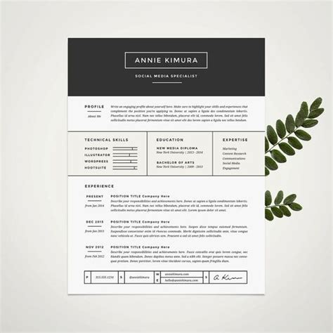 Resume Template Word Etsy 34 Best Images About Resume Design On Cover Letters Graphic Design Resume And My Resume