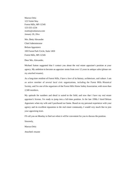 Appraisal Cover Letter Exles Basic Real Estate Appraiser Cover Letter Sles And Templates